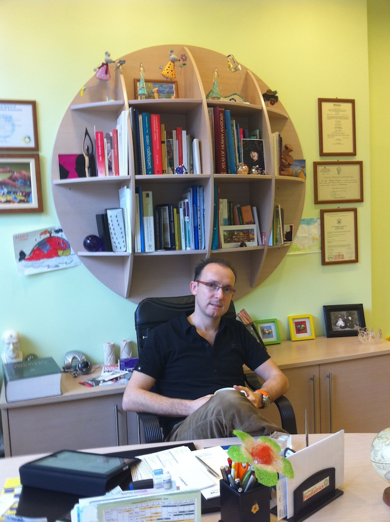 Vangelis at Xrysoupoli office